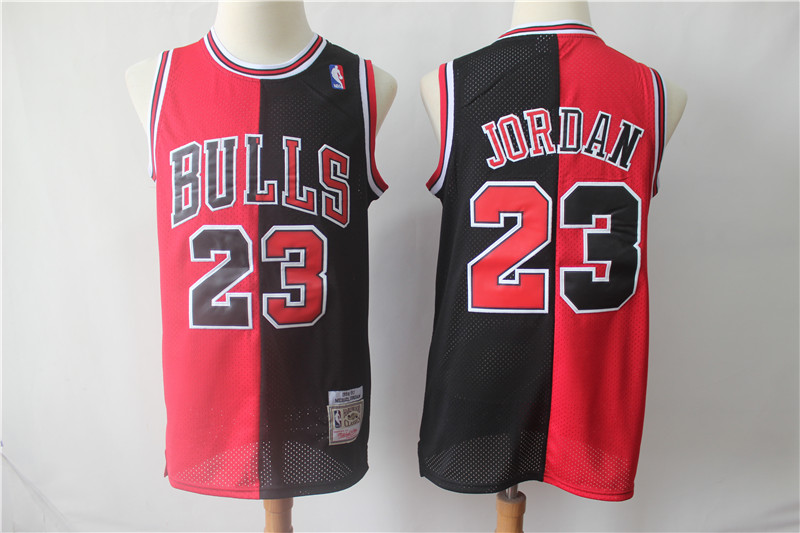 Bulls 23 Michael Jordan Black Red Split 1996-97 Hardwood Classics Jersey