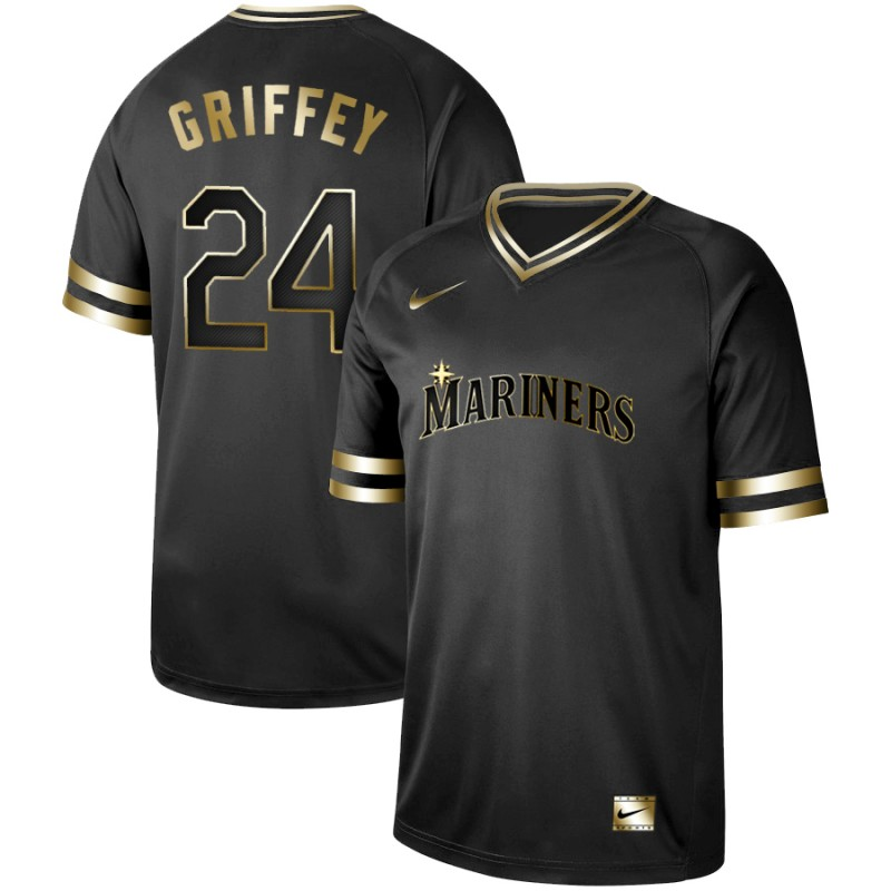 Mariners 24 Ken Griffey Jr. Black Gold Nike Cooperstown Collection Legend V Neck Jersey