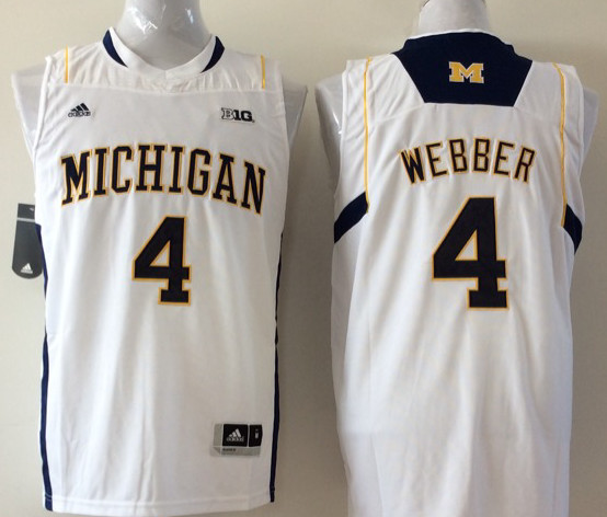 Michigan Wolverines 4 Chris Webber White College Basketball Jersey