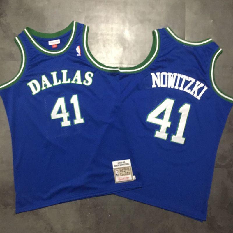 Mavericks 41 Dirk Nowitzki Blue 1994-95 Hardwood Classics Jersey