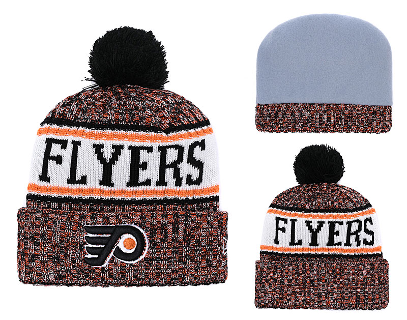 Flyers Team Logo Yellow Pom Knit Hat YD