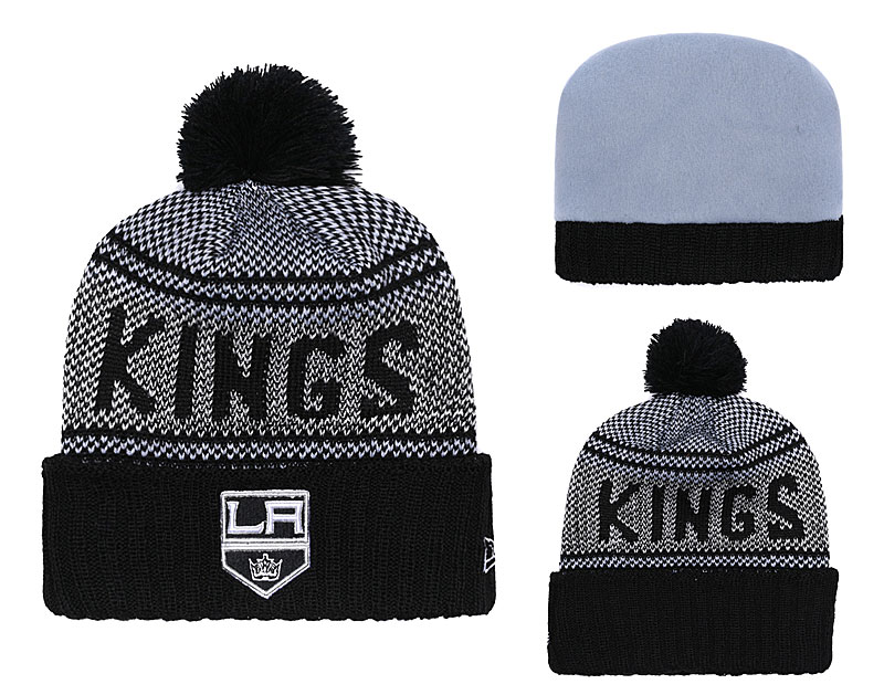 Los Angeles Kings Fresh Logo Black Pom Knit Hat YD