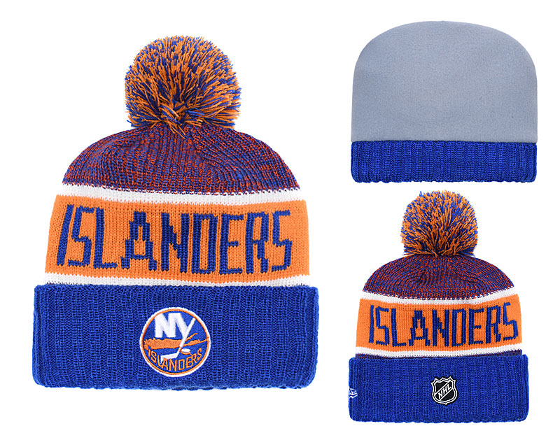 New York Islanders Fresh Logo Blue Yellow Pom Knit Hat YD