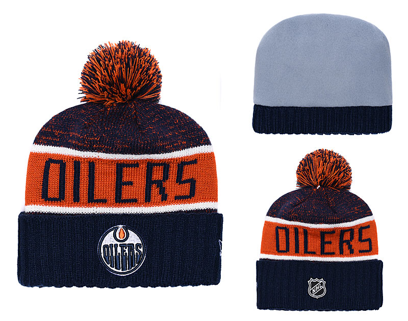Oilers Fresh Logo Navy Orange Pom Knit Hat YD