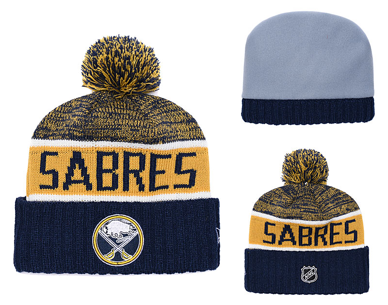 Sabres Fresh Logo Navy Yellow Pom Knit Hat YD