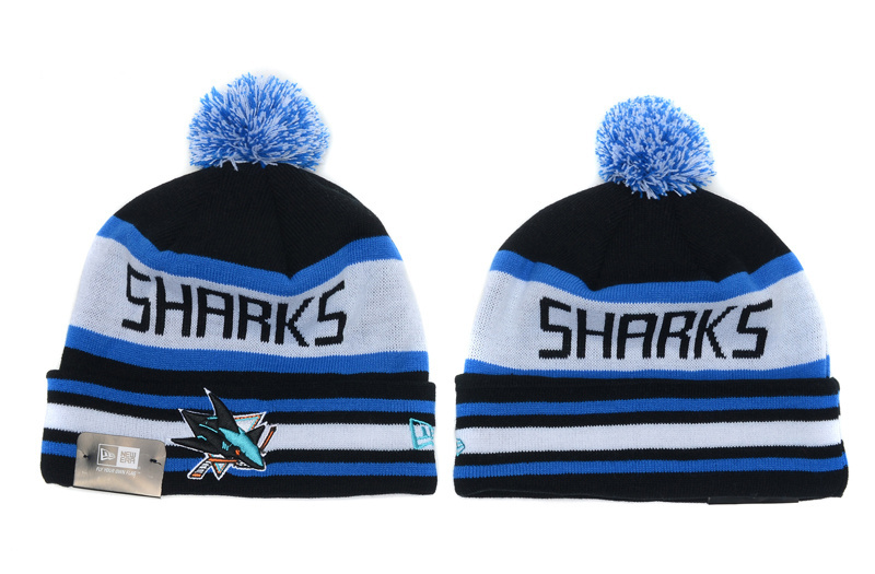 Sharks Team Logo Black White Cuffed Knit Hat With Pom YD
