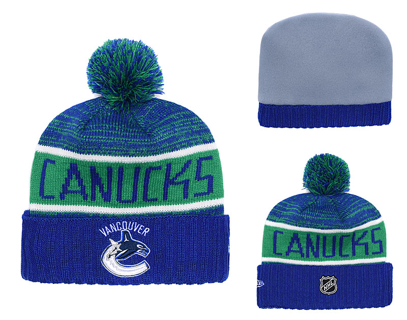 Vancouver Canucks Fresh Logo Blue Pom Knit Hat YD
