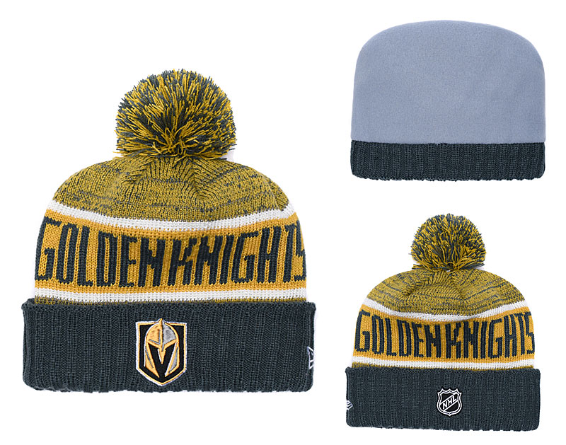Vegas Golden Knights Fresh Logo Yellow Black Pom Knit Hat YD