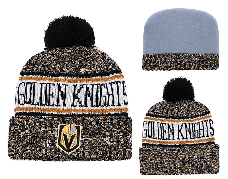 Vegas Golden Knights Fresh Logo Yellow Pom Knit Hat YD