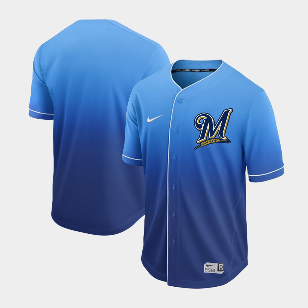 Brewers Blank Royal Drift Fashion Jersey