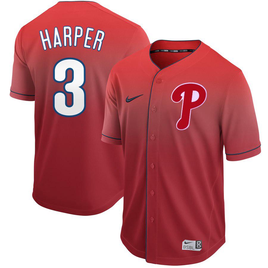 Phillies 3 Bryce Harper Red Drift Fashion Jersey
