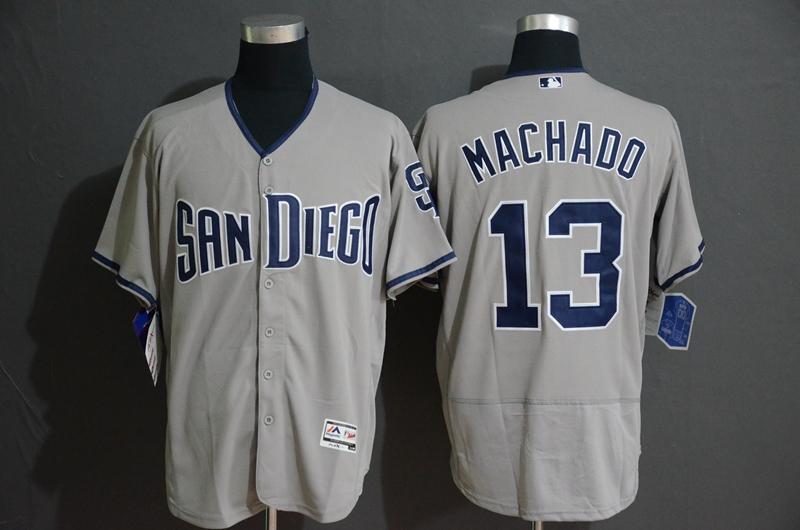 Padres 13 Manny Machado Gray Flexbase Jersey