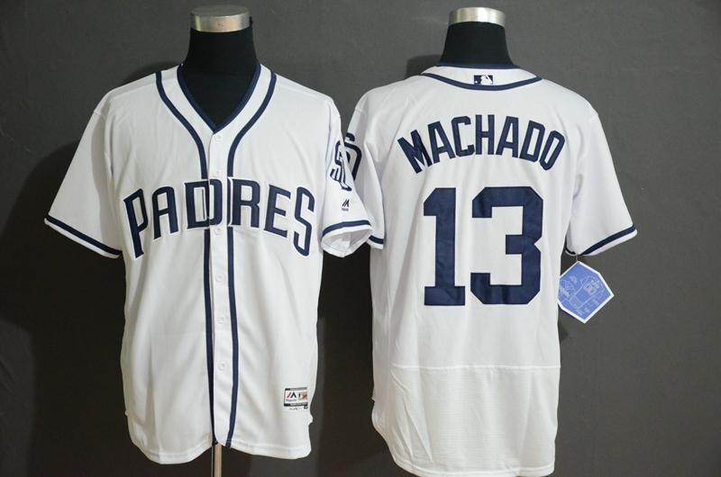 Padres 13 Manny Machado White Flexbase Jersey
