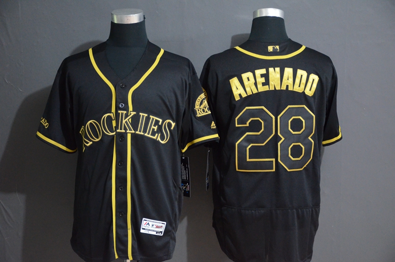 Rockies 28 Nolan Arenado Black Gold Flexbase Jersey