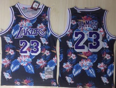 Lakers 23 Lebron James Black 1996-97 Hardwood Classics Floral Fashion Swingman Jersey
