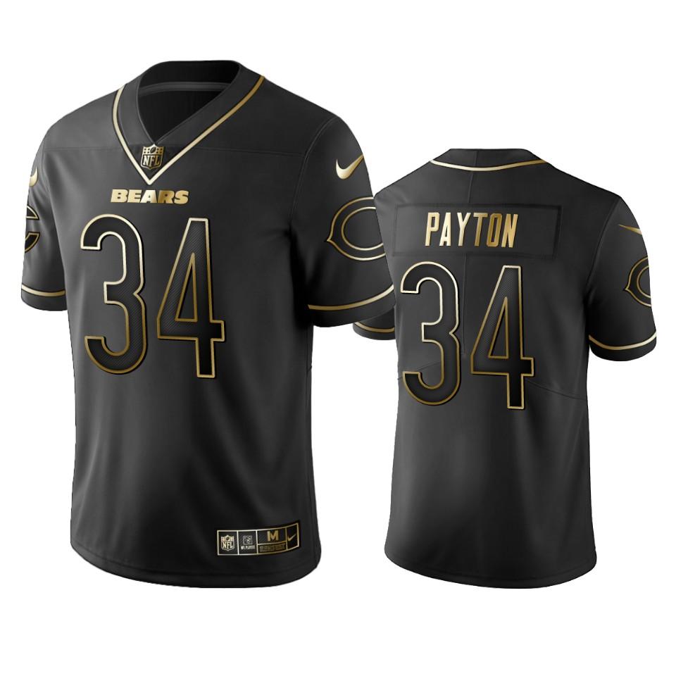 Nike Bears 34 Walter Payton Black Gold Vapor Untouchable Limited Jersey