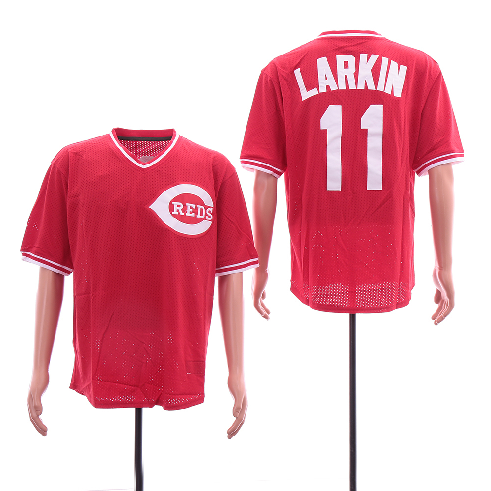 Reds 11 Barry Larkin Red Throwback BP Mesh Jersey