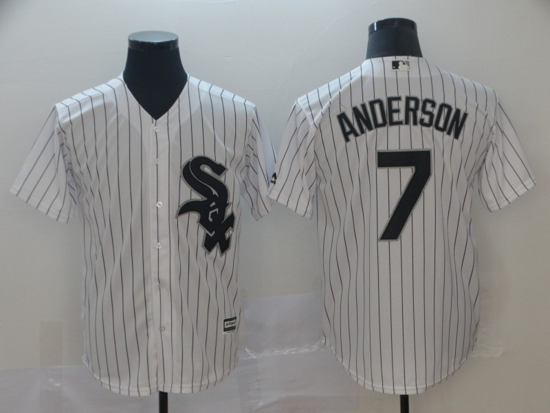 White Sox 7 Tim Anderson White Cool Base Jersey