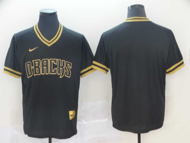 Diamondbacks Blank Black Gold Nike Cooperstown Collection Legend V Neck Jersey