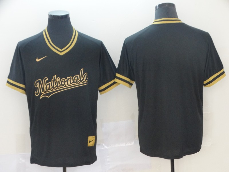 Nationals Blank Black Gold Nike Cooperstown Collection Legend V Neck Jersey