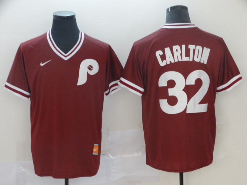 Phillies 32 Steve Carlton Red Throwback Jersey