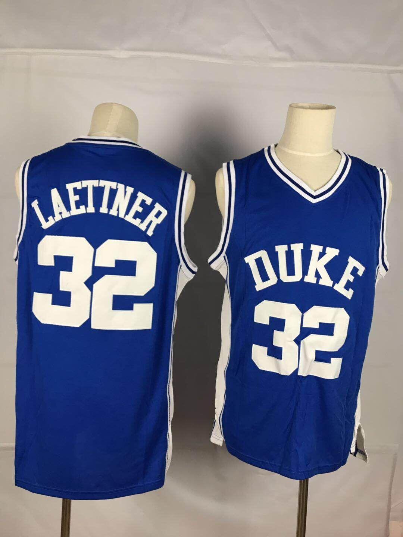Duke Blue Devils 32 Christian Laettner Blue College Basketball Jersey