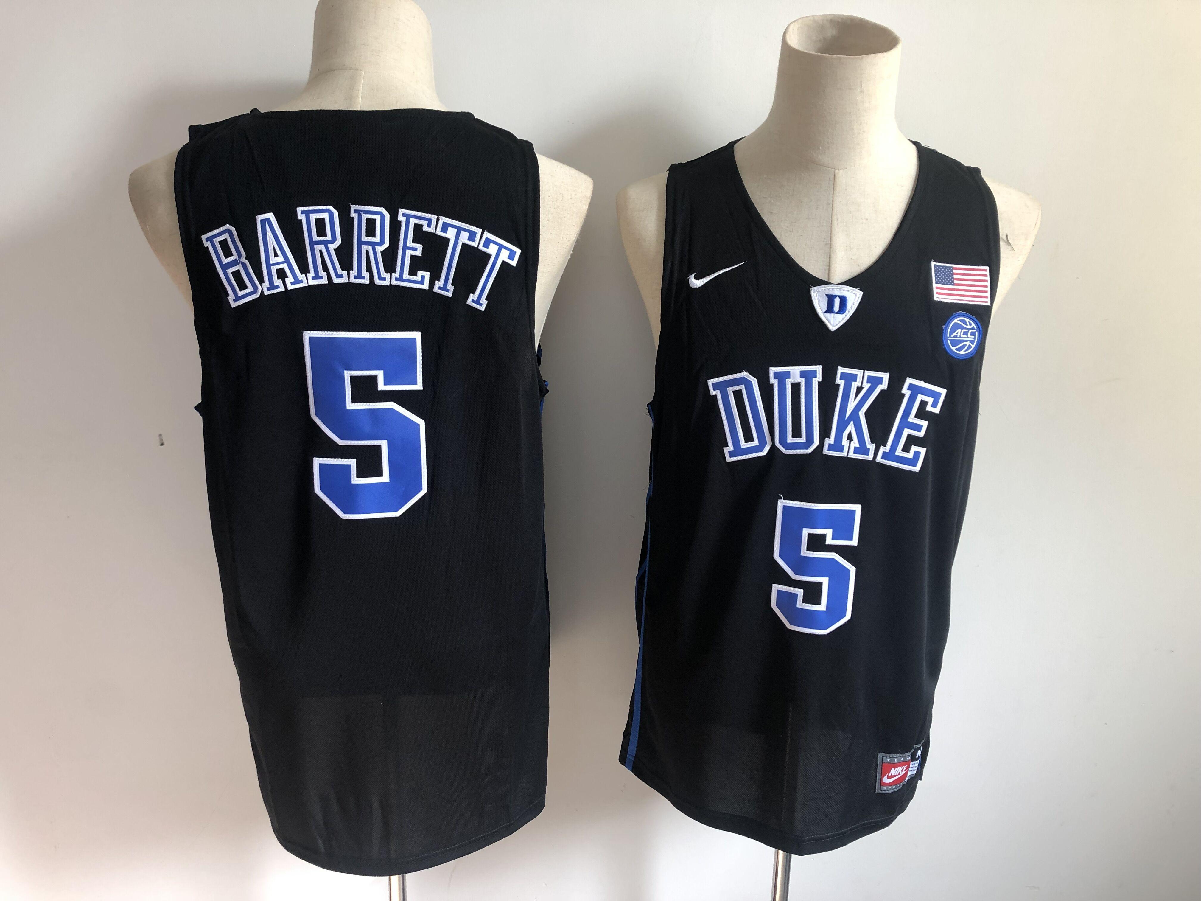 Duke Blue Devils 5 RJ Barrett Black Nike College Basketball Jersey