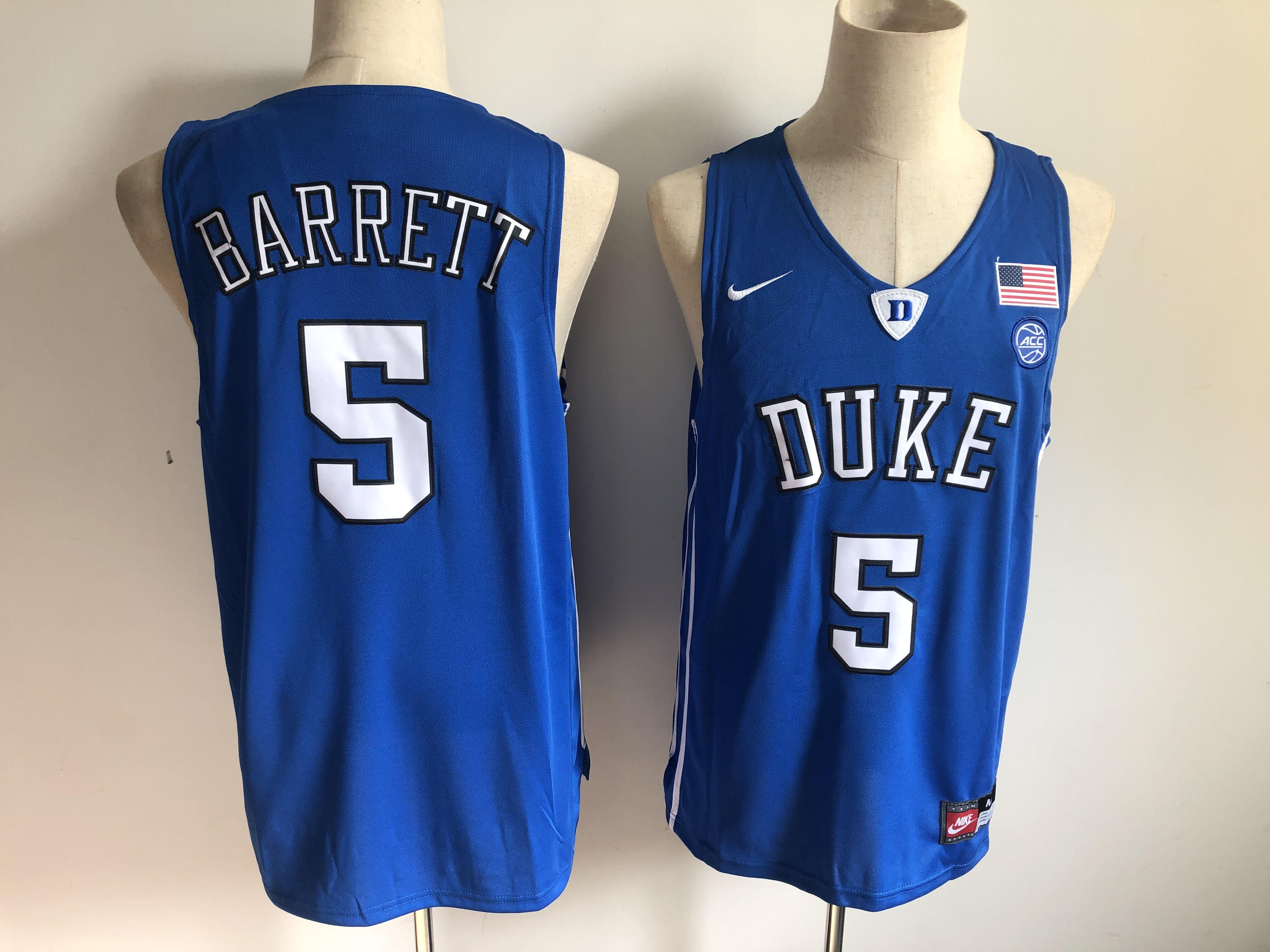 Duke Blue Devils 5 RJ Barrett Blue Nike College Basketball Jersey