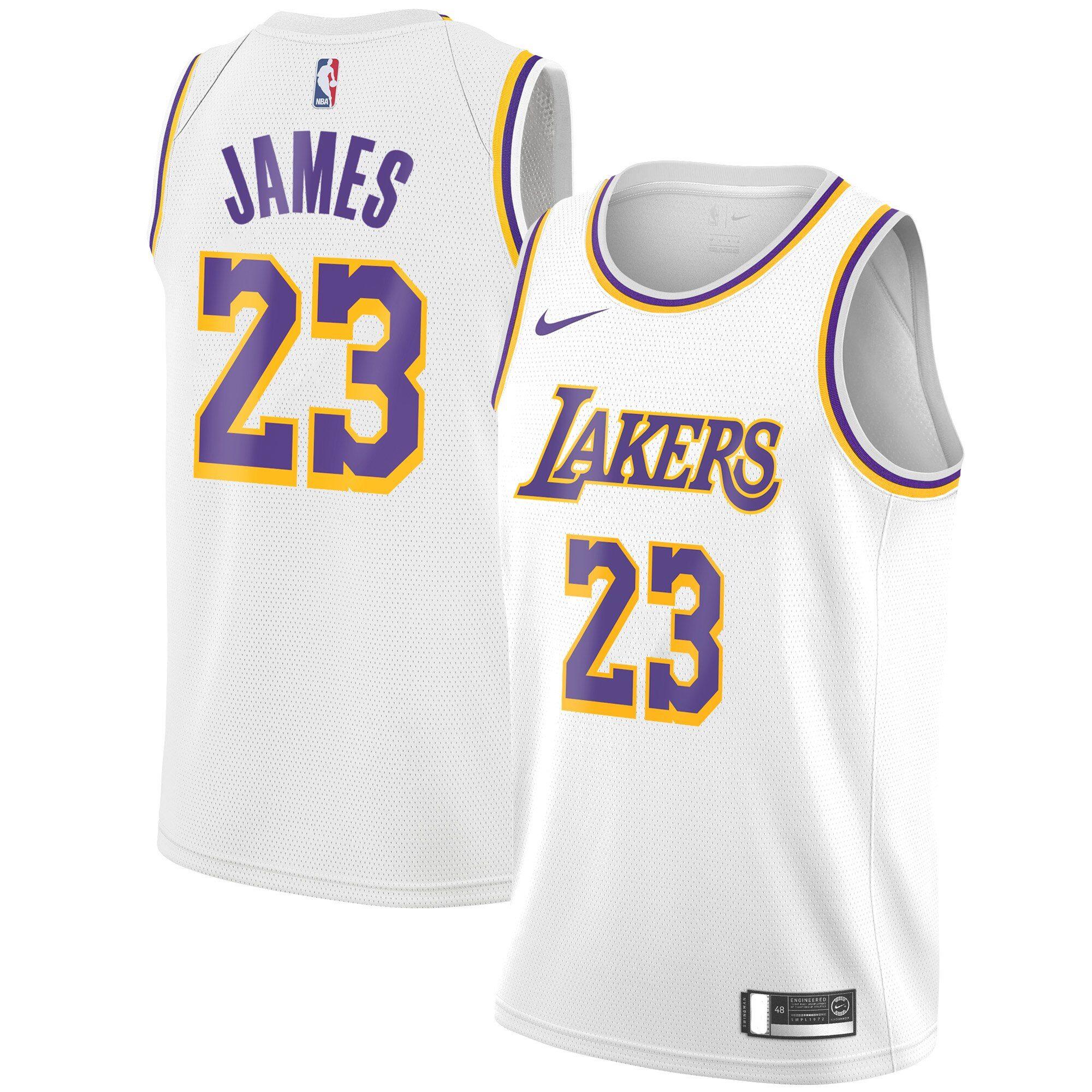 Lakers 23 Lebron James White Nike Swingman Jersey