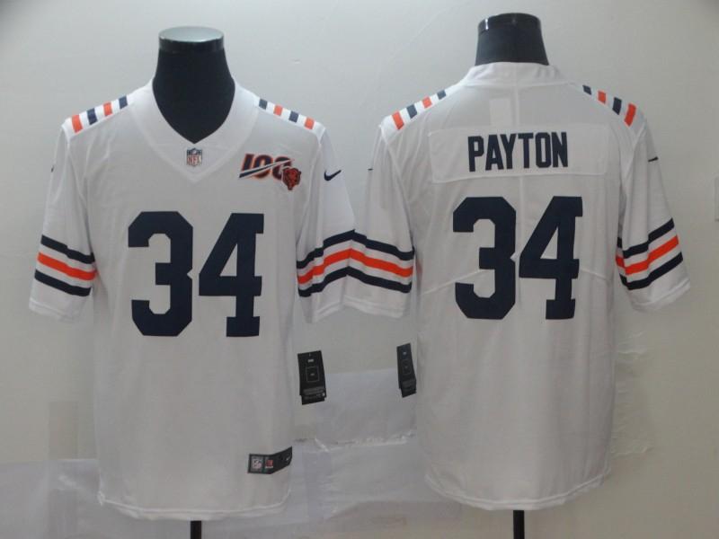 Nike Bears 34 Walter Payton White 2019 100th Season Alternate Classic Retired Vapor Untouchable Limited Jersey