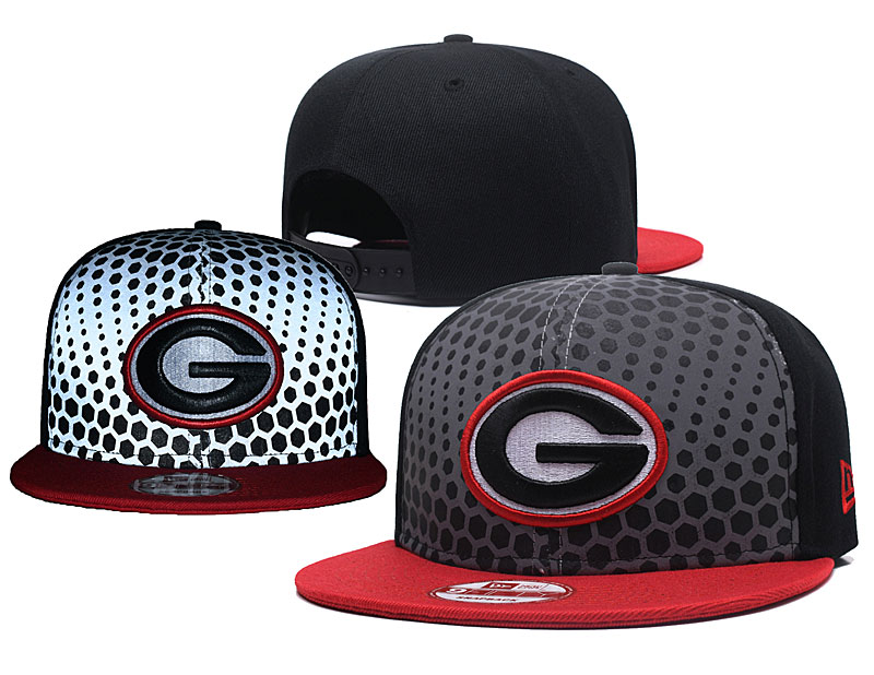 Georgia Bulldogs Team Logo Black Red Adjustable Hat GS