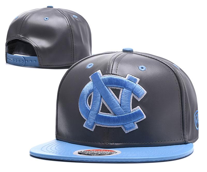 North Carolina Tar Heels Team Logo Gray Blue Leather Adjustable Hat GS
