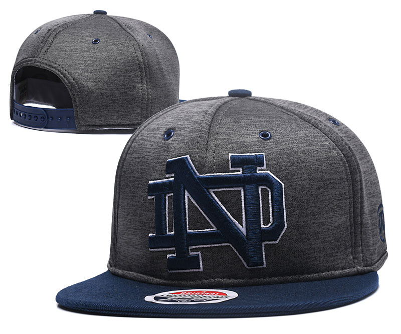 Notre Dame Fighting Irish Team Logo Gray Navy Adjustable Hat GS