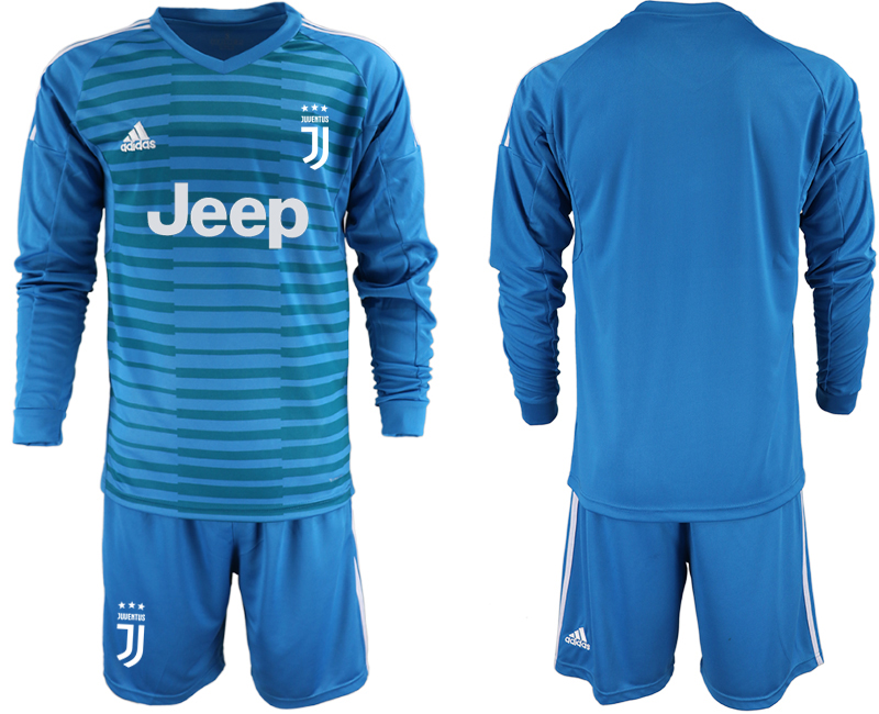 2019-20 Juventus Blue Long Sleeve Goalkeeper Soccer Jersey