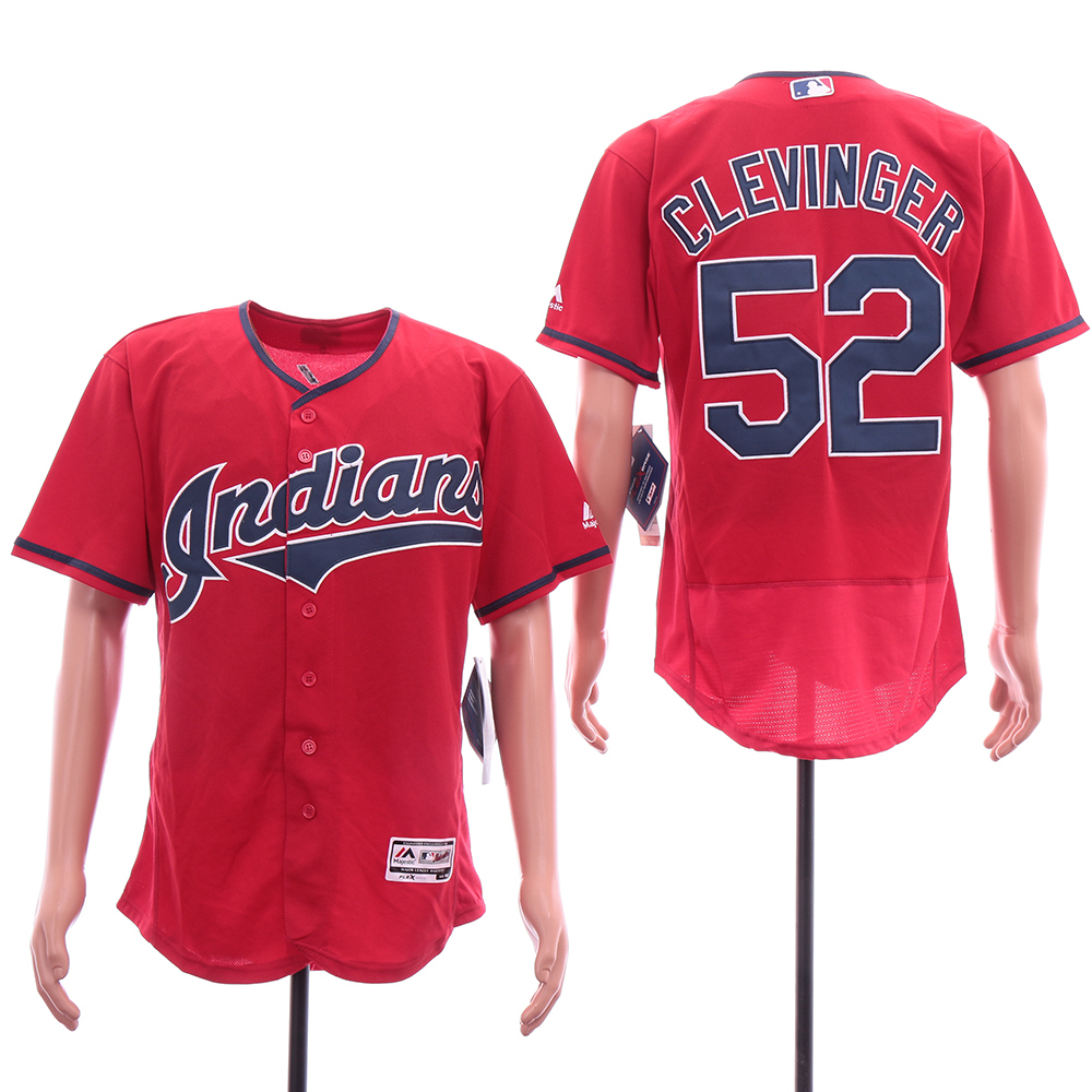 Indians 52 Mike Clevinger Red Flexbase Jersey