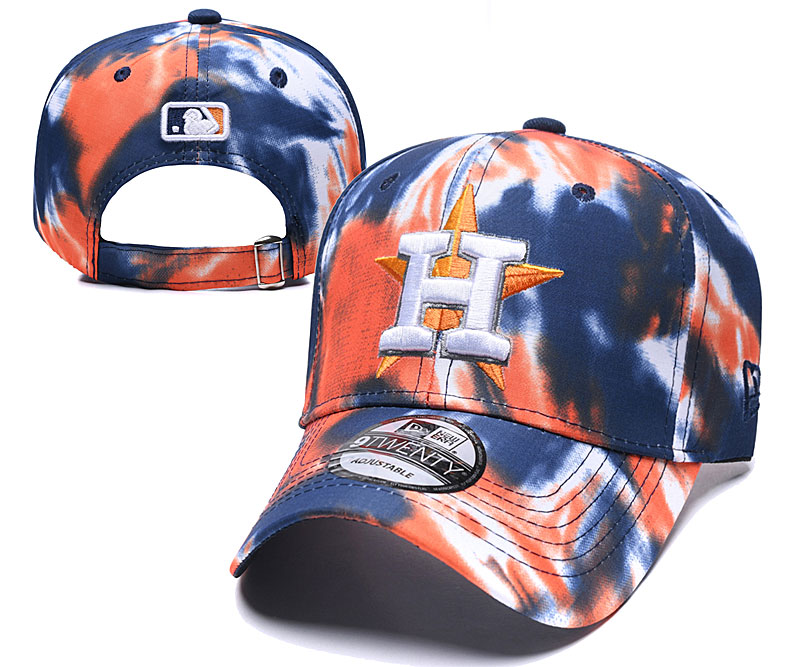 Astros Team Logo Orange Navy Peaked Adjustable Fashion Hat YD