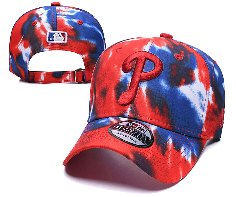 Phillies Team Logo Red Blue Peaked Adjustable Fashion Hat YD
