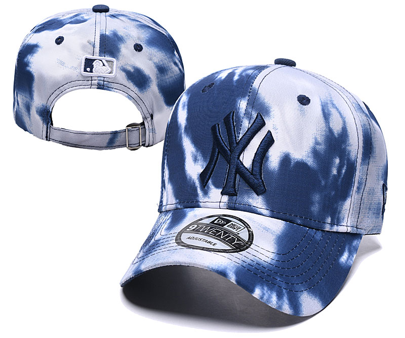 Yankees Team Logo Navy White Peaked Adjustable Fashion Hat YD