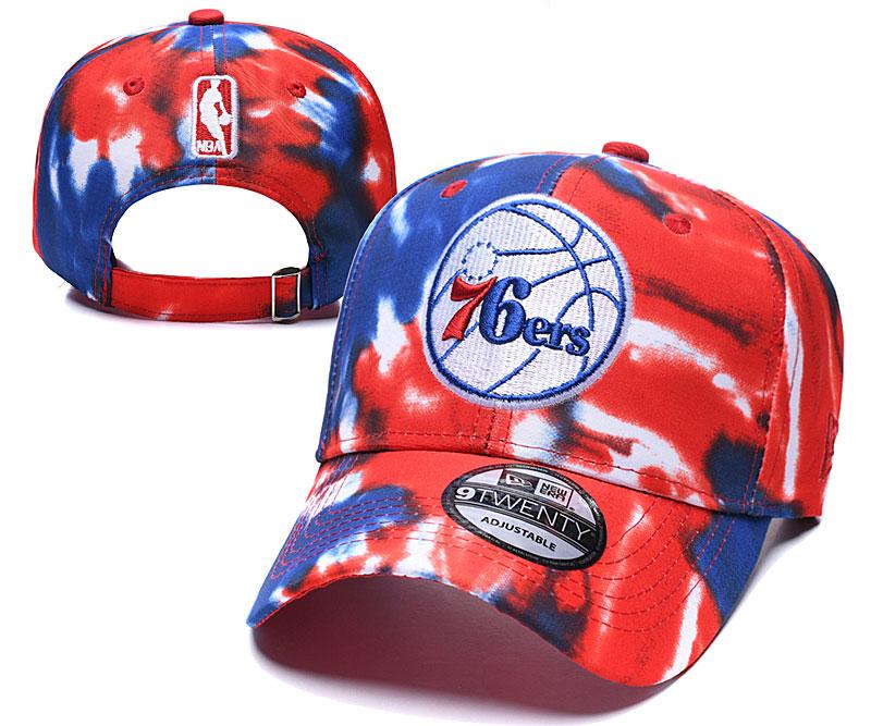 76ers Team Logo Red Blue Peaked Adjustable Fashion Hat YD