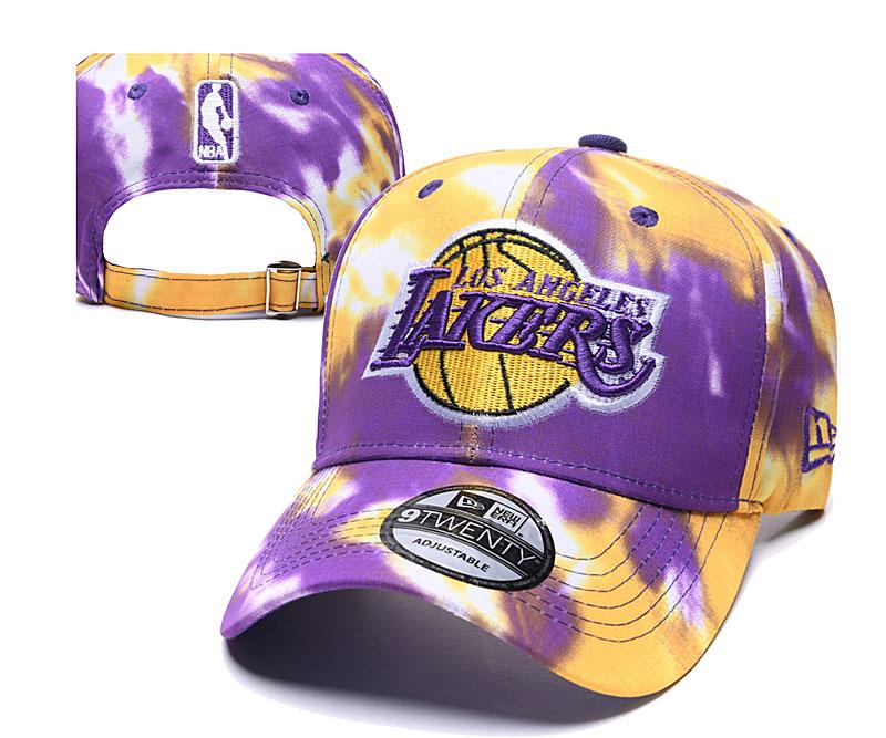 Lakers Team Logo Purple Yellow Peaked Adjustable Fashion Hat YD
