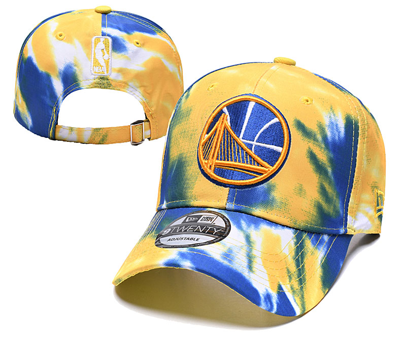 Warriors Team Logo Blue Yellow Peaked Adjustable Fashion Hat YD