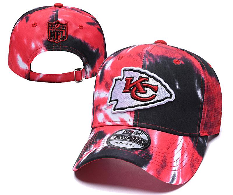 Chiefs Team Logo Red Black Peaked Adjustable Fashion Hat YD