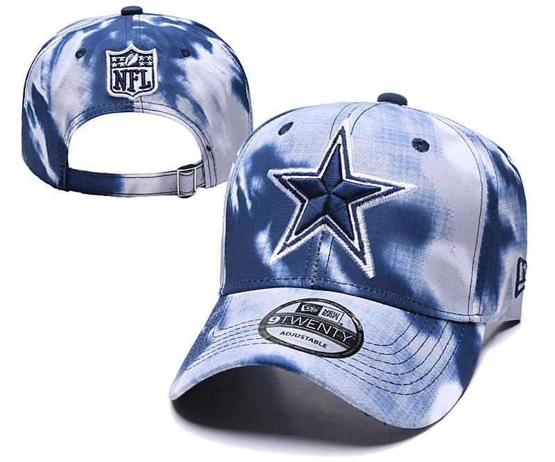 Cowboys Team Logo Navy White Peaked Adjustable Fashion Hat YD