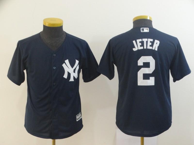 Yankees 2 Derek Jeter Navy Youth Cool Base Jersey