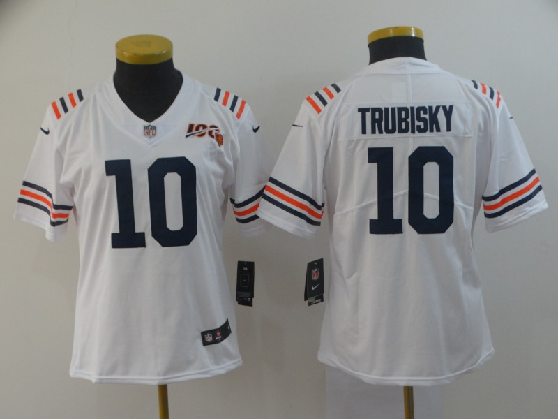 Nike Bears 10 Mitchell Trubisky White Women 2019 100th Season Alternate Classic Vapor Untouchable Limited Jersey