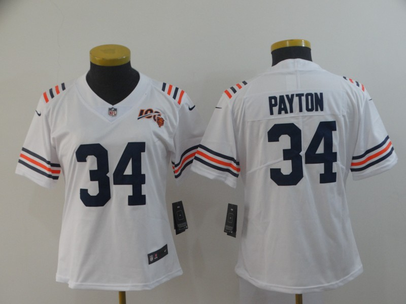 Nike Bears 34 Walter Payton White Women 2019 100th Season Alternate Classic Retired Vapor Untouchable Limited Jersey
