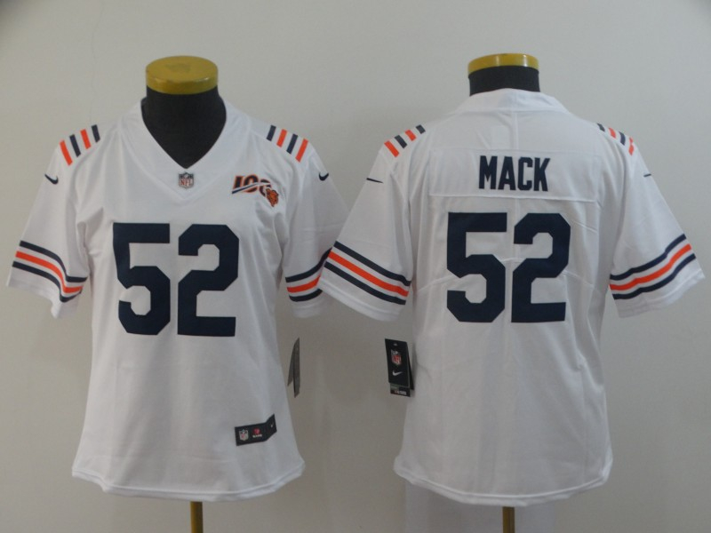 Nike Bears 52 Khalil Mack White Women 2019 100th Season Alternate Classic Vapor Untouchable Limited Jersey