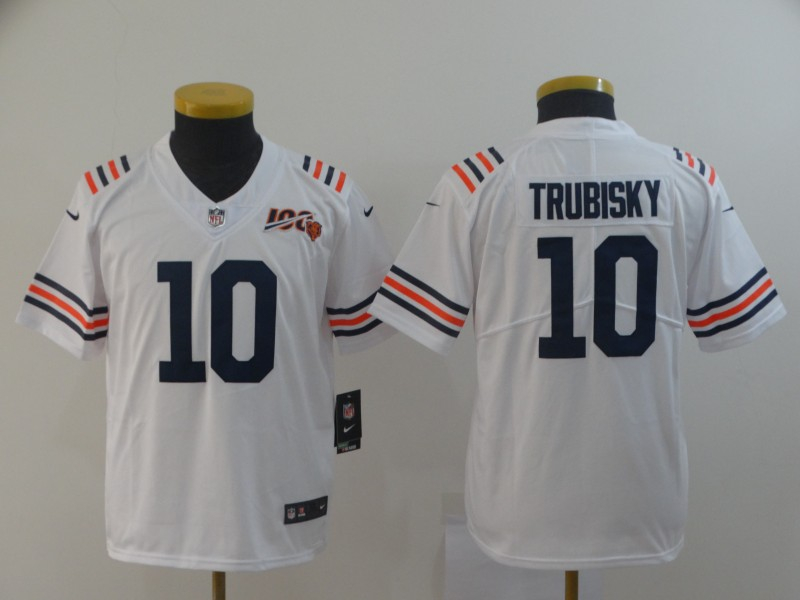 Nike Bears 10 Mitchell Trubisky White Youth 2019 100th Season Alternate Classic Vapor Untouchable Limited Jersey