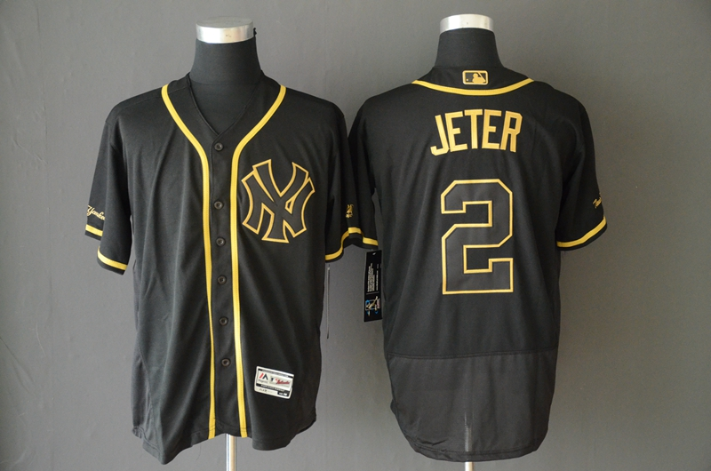 Yankees 2 Derek Jeter Black Gold Flexbase Jersey