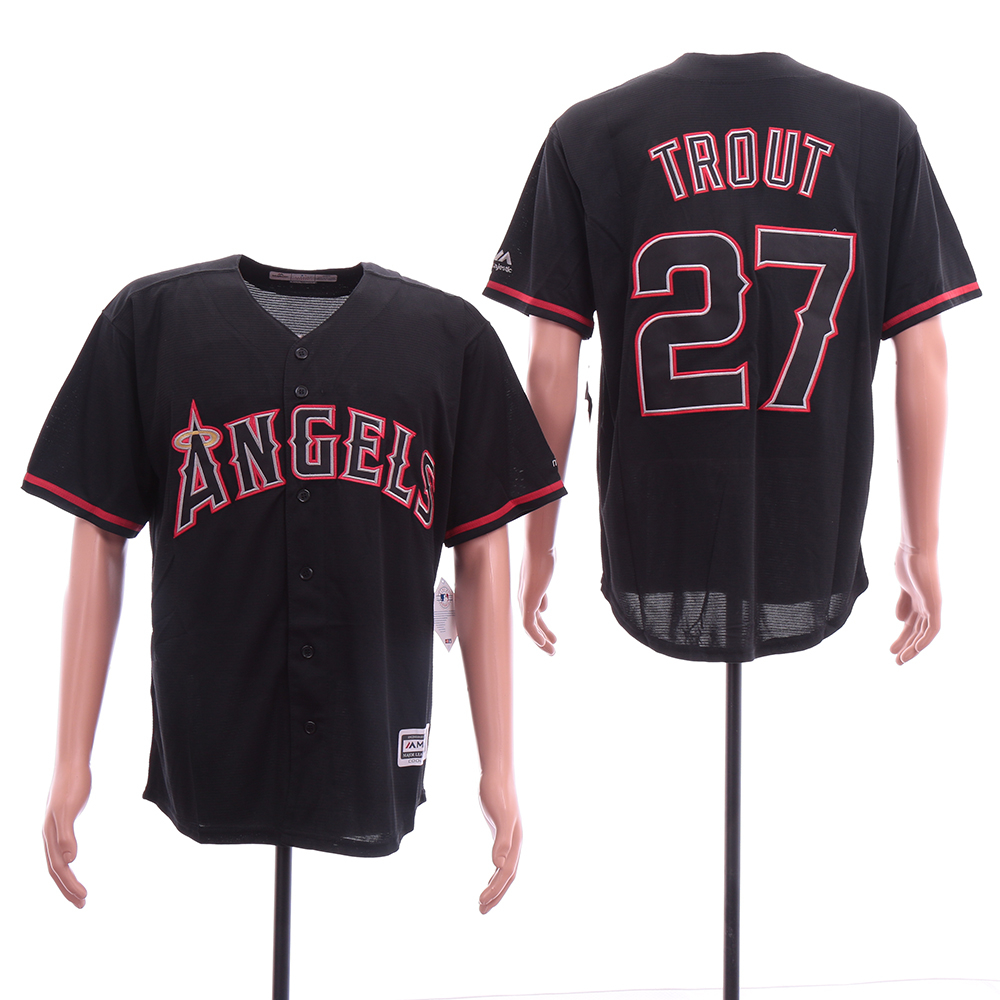 Angels 27 Mike Trout Black Cool Base Jersey